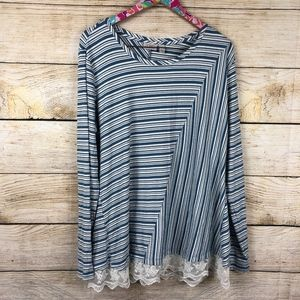 LOGO Lori Goldstein striped top w lace XL // A07